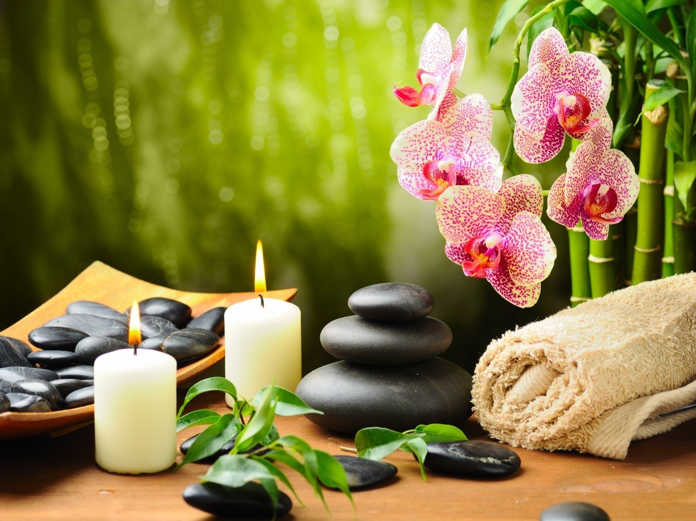 Candles, Rocks, Towel and Orchids